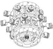 Motor radial desmontado em um branco ilustração do vetor