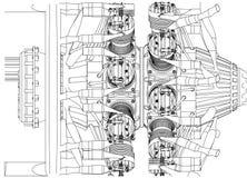 Motor radial em um branco ilustração royalty free