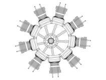 Motor radial em um branco ilustração do vetor
