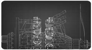 Motor radial em um cinza ilustração stock
