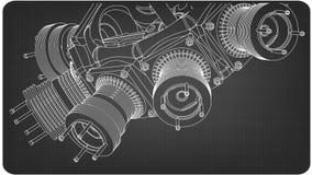 Motor radial em um cinza ilustração do vetor