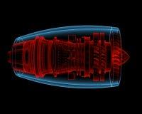 Motor a reacción de Turbo (transparentes rojos y azules de la radiografía 3D) Imágenes de archivo libres de regalías