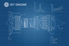 Motor a reacción en un estilo del esquema Modelo industrial del vector Pieza de los aviones Vista lateral Ilustración del vector libre illustration