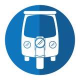 Motor rickshaw transport tricycle blue circle Royalty Free Stock Photos