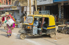 Motor rikshaw. The motor rikshaw is the typical indian means of transport Royalty Free Stock Images
