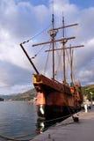 Motor sailboat Karaka in port of Dubrovnik, Royalty Free Stock Images