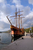 Motor sailboat Karaka in port of Dubrovnik, Royalty Free Stock Photos