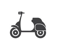 Motor Scooter Icon. Small motorcycle or moped logo in outline design. Motorbike logotype or label vector illustration royalty free illustration
