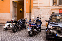 Motor Scooters in Rome, Italy. Royalty Free Stock Images