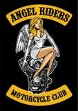 Motor 'sexy' do anjo e da motocicleta ilustração stock