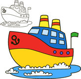 Motor ship. Coloring book page Royalty Free Stock Photography
