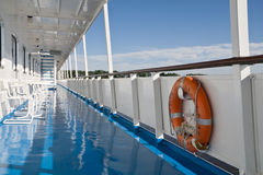 Motor-ship deck. In a sunny day Royalty Free Stock Image