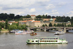 Motor ship on the river Vltava Royalty Free Stock Photography