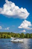 Motor ship sails on river Royalty Free Stock Photo