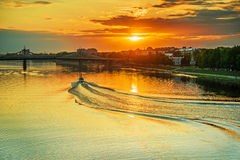 Motor ship sails on river Volga Stock Photos