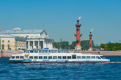 Motor ship at the Spit of Vasilyevsky Island, St. Petersburg Stock Images