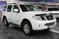 Motor show. KIEV - SEPTEMBER 7: White Nissan Pathfinder at yearly automotive-show Capital auto show 2012. September 7, 2012 in Kiev, Ukraine Stock Image