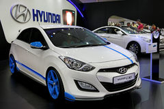Motor show. UKRAINE, KIEV, MAY 31, 2013: Hyundai i30 at yearly automotive-show SIA 2013. May 31, 2013 in Kiev, Ukraine Stock Images