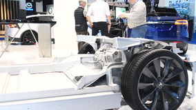 Motor show demonstration model of a Tesla Model X stock footage