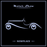 Motor show poster concept. Silver over black. Vector illustration Royalty Free Stock Photos