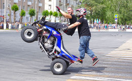 Motor Show from the team CK Stunt - show of Russian riders on the opening of the exhibition of young people in the city of Novokui. Brave guys to conquer the Royalty Free Stock Photography