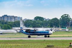 Motor Sich Antonov An-24. Kyiv, Ukraine - June 09, 2019: Motor Sich Antonov An-24 in Kyiv Sikorsky Airport royalty free stock photography