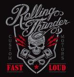 Motor skull piston crest t-shirt graphic Royalty Free Stock Images