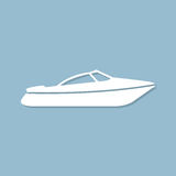 Motor speed boat icon with shadow in a flat design on a blue background. Motor  speed boat icon with shadow in a flat design on a blue background Royalty Free Stock Images