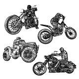 Motor sport illustrations. Four motor sports illustrations on white Stock Images