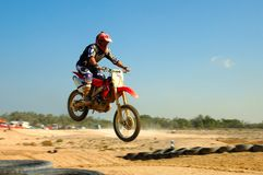 Motor Sports. A big jump for this rider in these photo  in the practice test of the motocross sports Stock Images