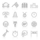 Motor sports and racing icons. Vector icon set Royalty Free Stock Images