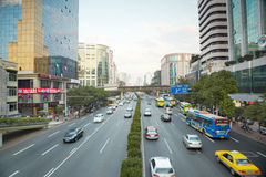 Motor traffic on highway in Guangzhou Royalty Free Stock Photo