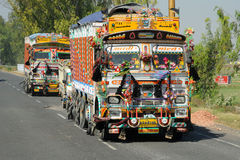Indian truck on the highway Stock Photo