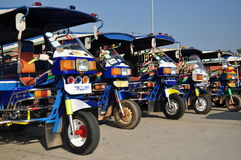 Motor tricycle queue in Lao Stock Images