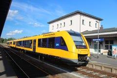 Motor unit. Passenger train at the stop in Marktredwitz Bayern Royalty Free Stock Photo