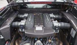 Motor V12 av Lamborghini Murcielago royaltyfri fotografi