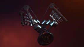 Motor V6 inom, animering i rörelse, pistonger, kamaxel, kedja, ventiler och annan mekanisk delbil com jorda en kontakt jordklotil arkivfilmer