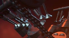 Motor V6 inom, animering i rörelse, pistonger, kamaxel, kedja, ventiler och annan mekanisk delbil com jorda en kontakt jordklotil lager videofilmer