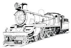 Motor van de stoom dreef trein aan Royalty-vrije Stock Foto's