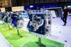 Motor van een auto op vertoning, Motorshow Geneve 2015 Stock Foto's