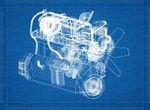 Motor van een autoblauwdruk royalty-vrije illustratie