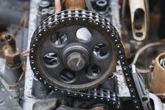 Motor van een oude auto Stock Foto
