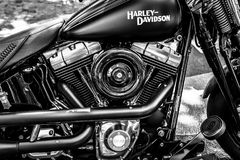 Motor van motorfiets Harley-Davidson, close-up Stock Afbeelding
