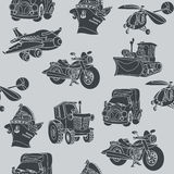 Motor vehicle car plane ship helicopter seamless pattern black Royalty Free Stock Image