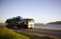 Motor vehicle carrier Stock Images