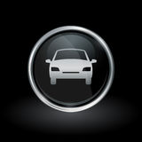Motor vehicle icon inside round silver and black emblem Royalty Free Stock Photo