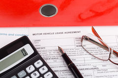 Motor vehicle lease agreement with fountain pen Royalty Free Stock Photography