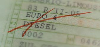 Motor vehicle license crossed out with red marker, driving ban in German cities in Germany. royalty free stock image