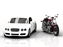 Motor vehicle and powerful motorcycle Stock Image