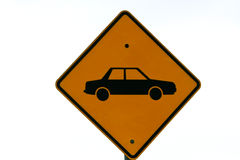 Motor vehicle road sign in yellow. Royalty Free Stock Image